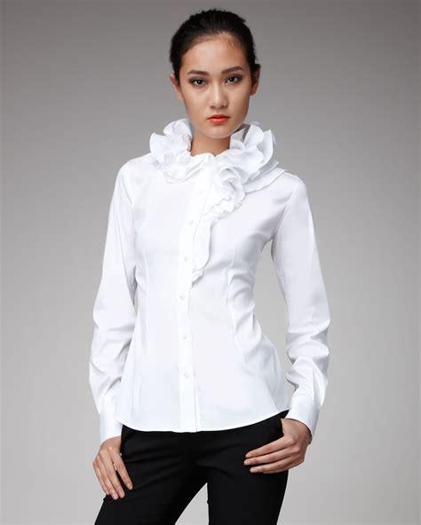 White Blous lyst dolce gabbana ruffle collar blouse in white