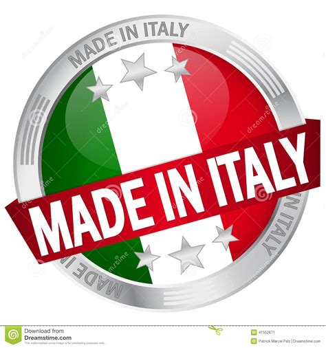 in italian button with banner made in italy stock vector image
