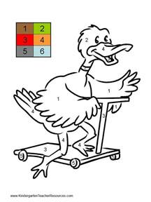 color by number worksheets duck color by number worksheets