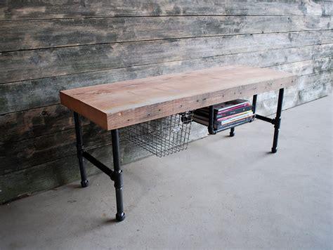 steel pipe desk legs console desk w steel pipe legs and built in shelf etsy
