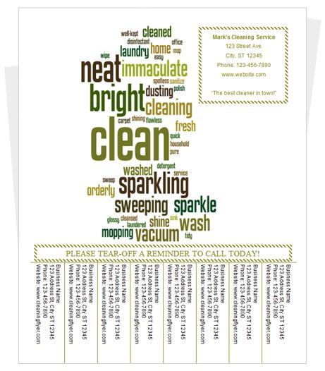 Free Templates For Flyers With Tear Off Tabs | tear off tabs cleaning flyer template by cleaningflyer com