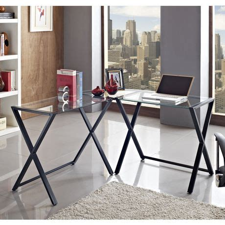 we furniture glass metal corner computer desk we furniture glass and metal x frame corner computer desk