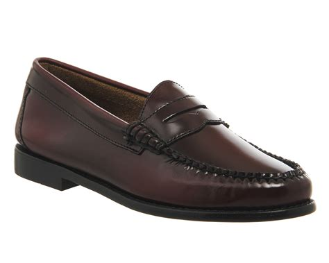 womens bass loafers womens g h bass loafers wine leather flats