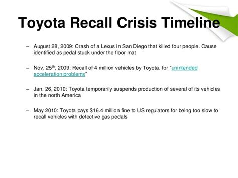 Unintended Acceleration Toyota S Recall Crisis Toyota Recall
