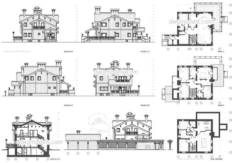3d House Plans Free classic villa autocad drawings free download blocks