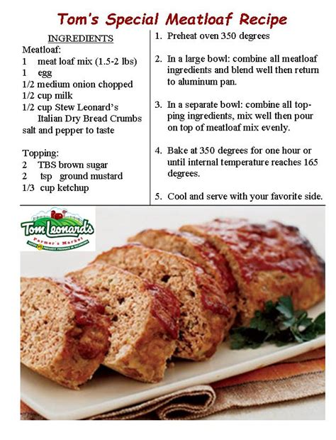 free printable meatloaf recipes tom s special meatloaf recipe tom leonard s farmer s market