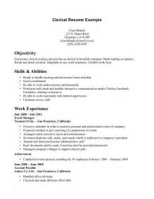 sle resume for clerical position clerical resume exles resume format pdf
