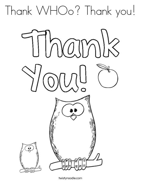 Thank You Fireman Coloring Pages by Thank Whoo Thank You Coloring Page Twisty Noodle