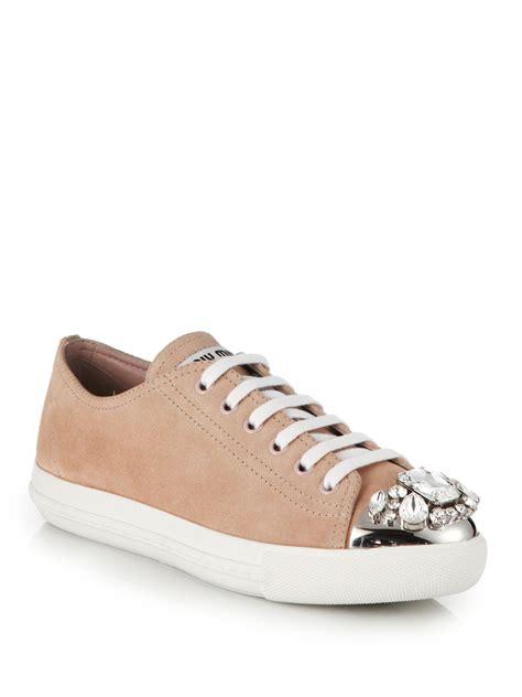 Miu Miu Belt Sparkling Sneakers Miu Miu Studded Suede Sneakers In Pink Lyst
