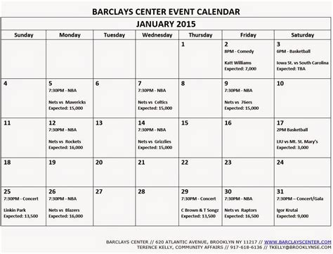 Calendar Events 2015 The Barclays Center Event Calendars For December 2014