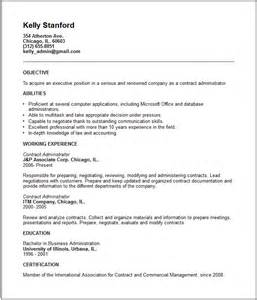 position contract template contract administrator resume exle free templates