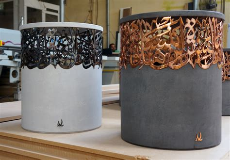 I Had Stools For A Week by Iyad Naja Forms Metal And Concrete Calligraphy Stools For