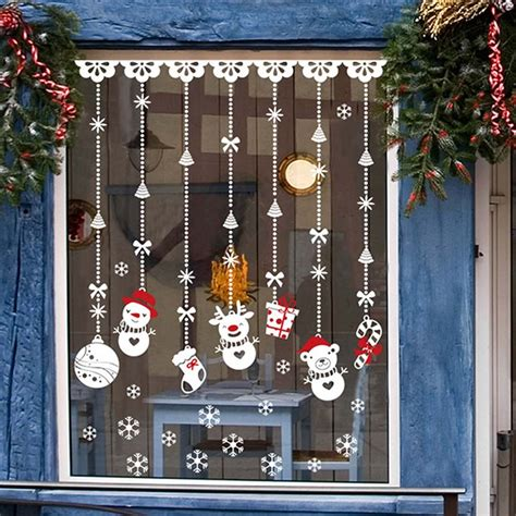 christmas window stickers snowman socks gift christmas