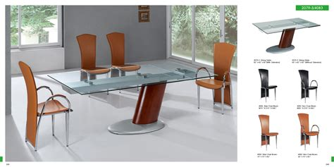 Dining Room Chairs Contemporary Pretty Rectangular Glass Top Modern Dining Table With Single Chrome Base Legs Also Modern Brown