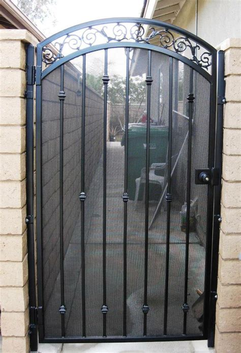 wrought iron privacy side gates in