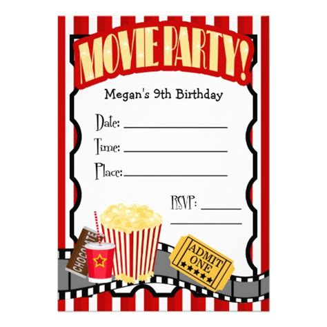 movie night any occasion fill in party 5x7 paper