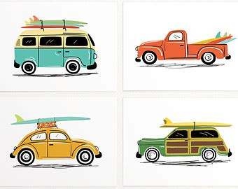 volkswagen van with surfboard clipart portrait invitations and art prints by lucylovespaper on etsy