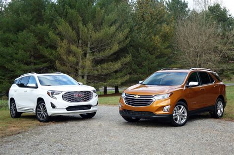 gmc acadia vs terrain 2018 chevrolet equinox vs 2018 gmc terrain compare cars