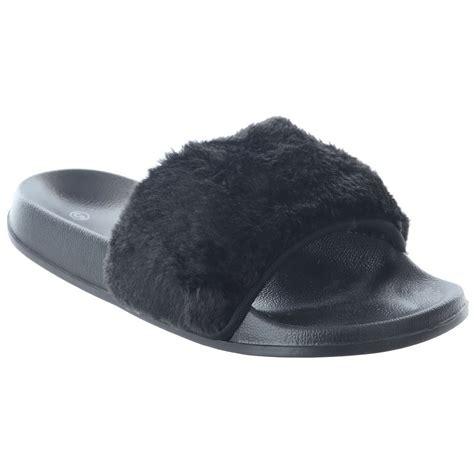 womens slide slippers new womens flat slip on fur trim slides