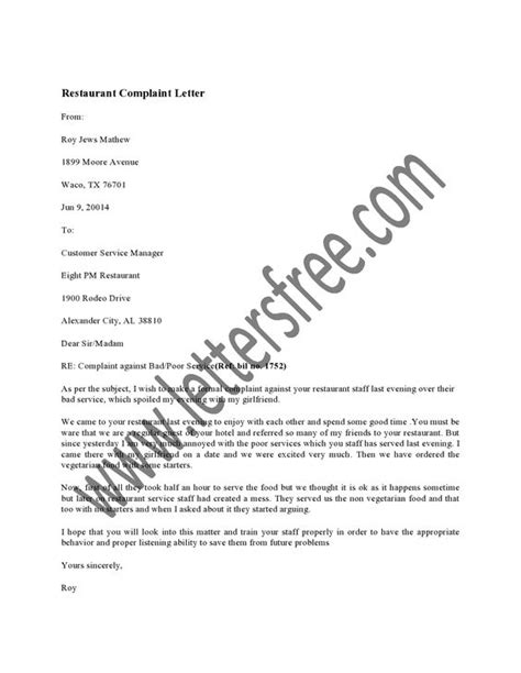 Complaint Letter Service Restaurant a restaurant complaint letter is usually sent by a