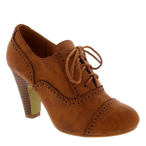 janes shoes brogue lace up ankle boot cuban heel work