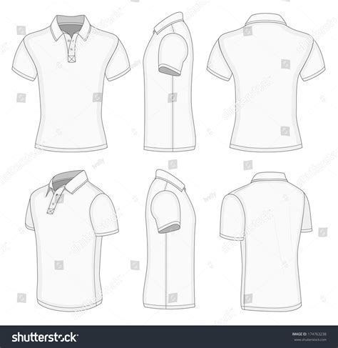 polo design template all views mens white sleeve stock vector 174763238
