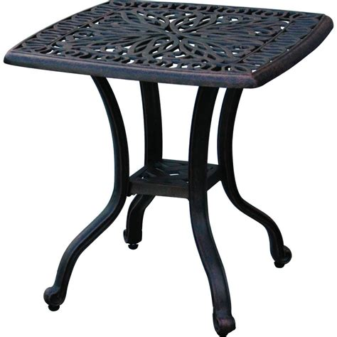 Cast Aluminum Patio Table Outdoor End Table Patio Furniture Cast Aluminum Elisabeth Desert Bronze Ebay