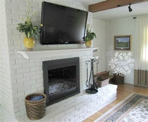 Painted Fireplace by Painted Brick Fireplace Makeover Painted Brick