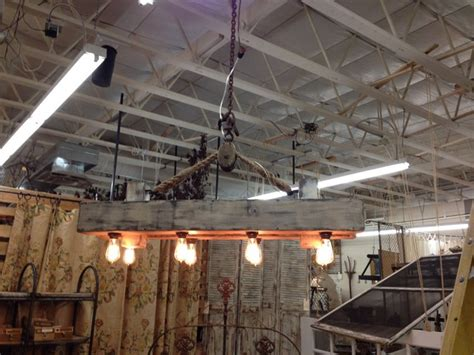Wood Beam Chandelier Rustic Reclaimed Wood Beam Chandelier With Pulley