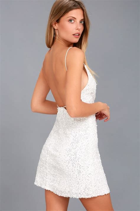 White Sequin Oversize S M L Top white sequin dress backless dress sequin mini dress