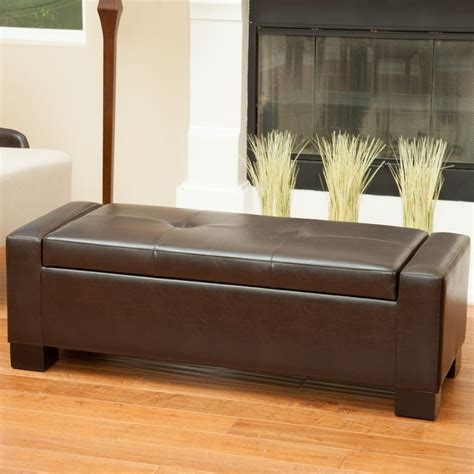 storage ottoman bench brown leather storage ottoman bench ebay