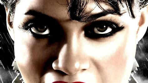 Brown eyes tongue rosario dawson red lipstick wallpaper