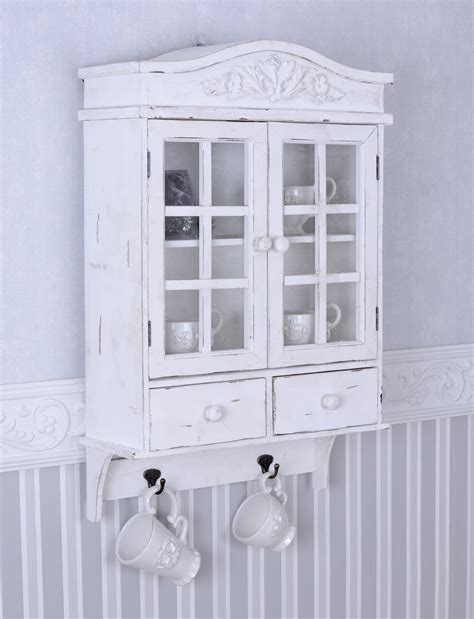 vintage wall cupboard white wardrobe shabby chic hanging display cabinet ebay