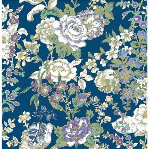 boho wallpaper a ainsley indigo boho floral wallpaper 1014 001847