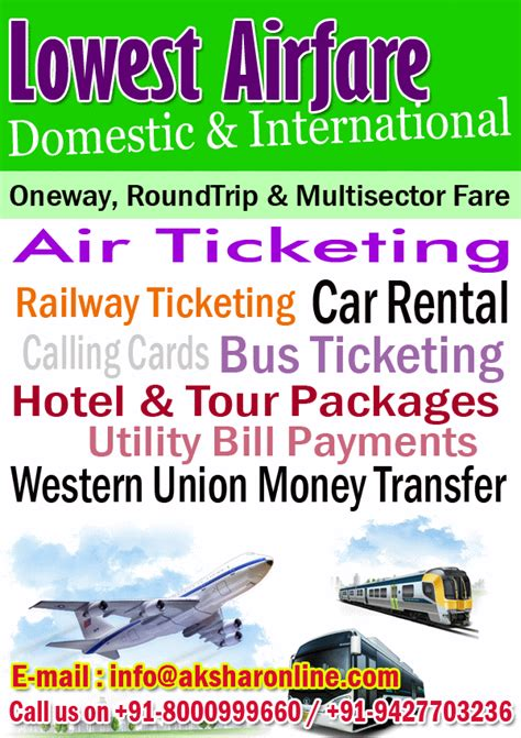 aksharonline lowest airfare domestic international air ticketing railway ticketing
