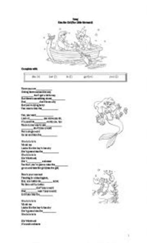 printable lyrics to kiss the girl english worksheets kiss the girl lyrics from the little