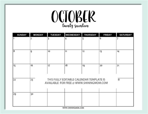 Free Printable Fully Editable 2017 Calendar Templates In Word Format Editable Schedule Template