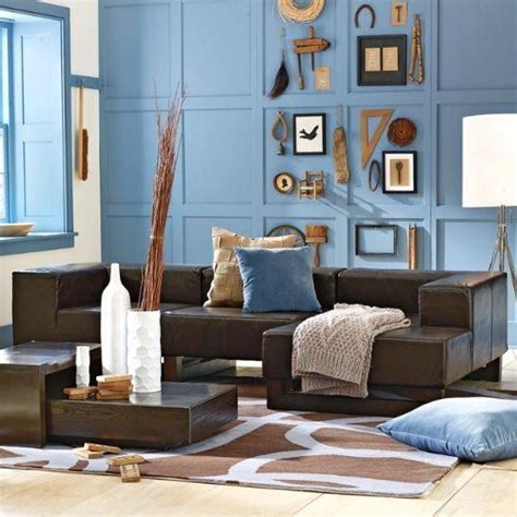 blue and brown sofa love the blue walls with brown couch especially the wall