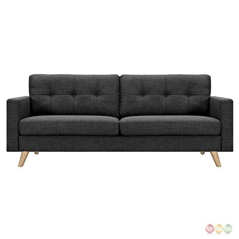 Uma Modern Dark Grey Fabric Button Tufted Sofa With Modern Grey Sofa