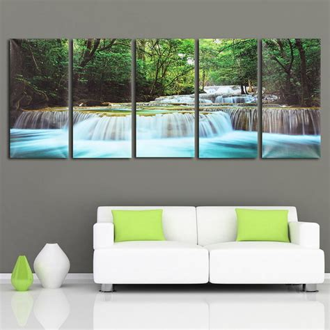 30x60cm 5pcs canvas painting forest waterfall wall