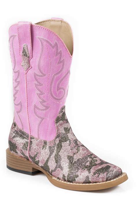 pretty boots roper pretty camo pink faux leather glitter cowboy