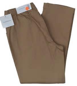 Amp barrow new women s khaki half elastic waist stretch pants ebay