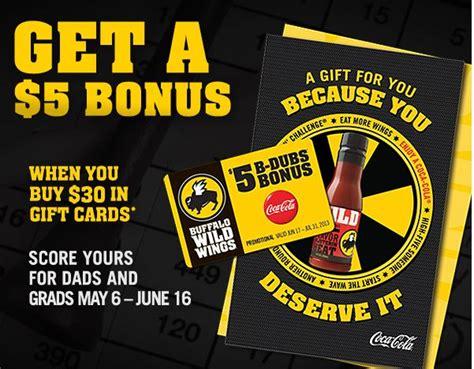 Buffalo Wild Wings Gift Card Deals - free 5 buffalo wild wings gift card when you buy 30 worth