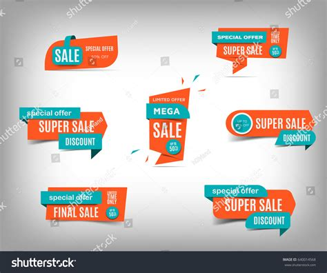 sale banner collection discount tag special stock vector