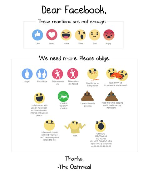 fb reacts i made some more facebook reactions the oatmeal