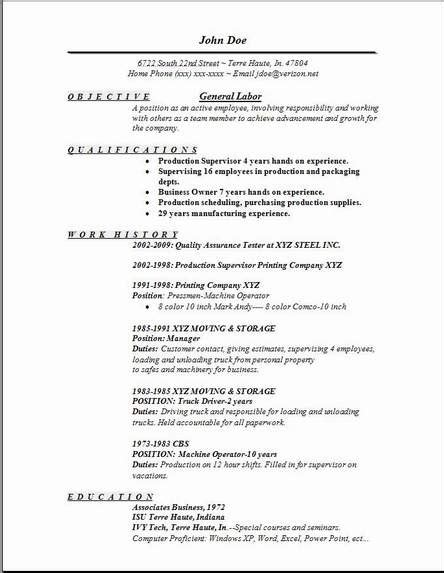 General Laborer Resume by Laborer Resume Exles