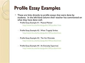 Profile Essay Thesis by Define Profile Essay Sles Essay For You