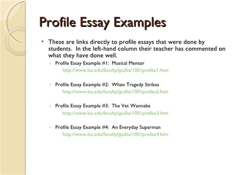 how to write a profile paper on a person profile essays