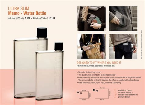 Memo Bottle A5 420lt Memo Bottle Slim e169 ultra slim quot memo quot water bottle a6 size 350 ml