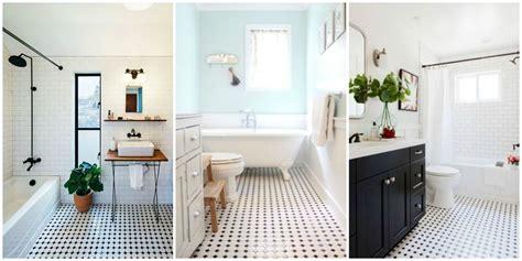 classic black  white tiled bathroom floors  making  huge comeback